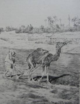 Litografía Lunois - Laboureur du Kef
