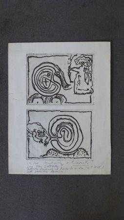 Grabado Alechinsky - Labyrhinte et reine ,crapaud et labyrinthe