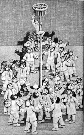 Grabado En Madera Morena - L'albero della cuccagna
