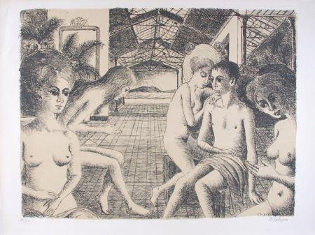 Litografía Delvaux - L'Amoureux