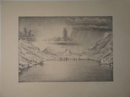 Litografía Stöcklin - Landschaft bei Morcote.