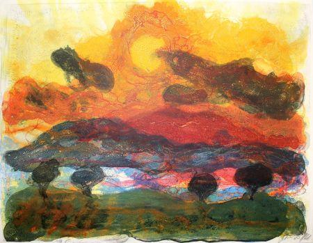 Litografía Kruck - Landschaft mit Pinen