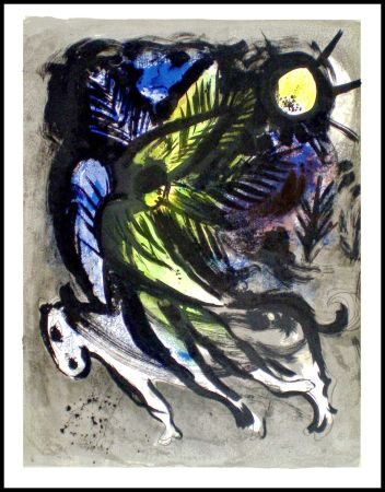 Litografía Chagall - L'ANGE SURVOLANT LA FORET