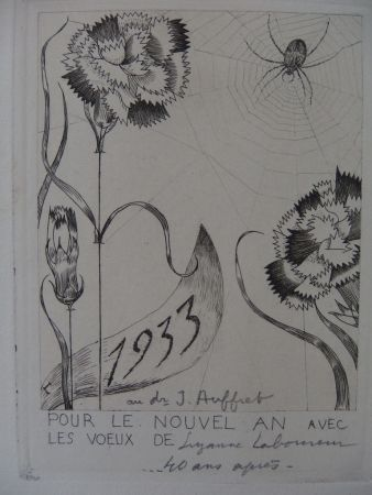 Grabado Laboureur - L'araignée aux fleurs