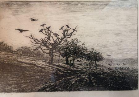 Aguafuerte Daubigny - L'arbre aux corbeaux