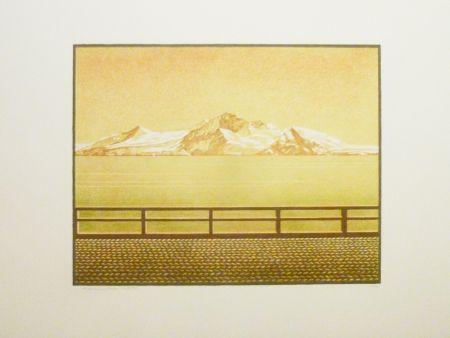 Litografía Rodrigo - Las grandes montanas por las que el agua desciende