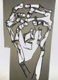 Grabado Guayasamin - Las manos del terror