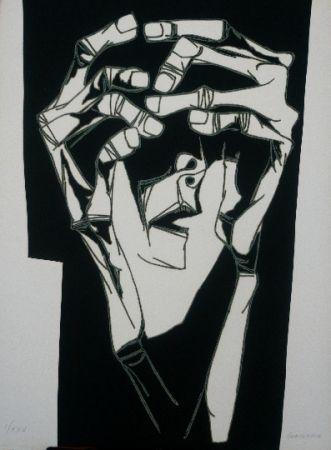 Grabado Guayasamin - Las manos del terror variante