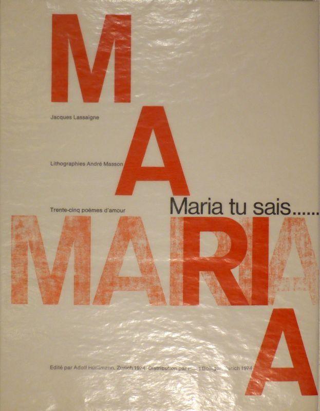 Libro Ilustrado Masson - LASSAIGNE, Jacques. Maria tu sais