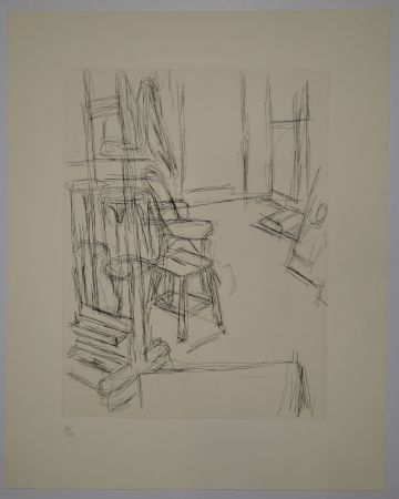 Grabado Giacometti - L'Atelier au chevalet (Studio with the Easel)