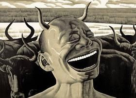 Grabado En Madera Minjun - Laughing w/Horns