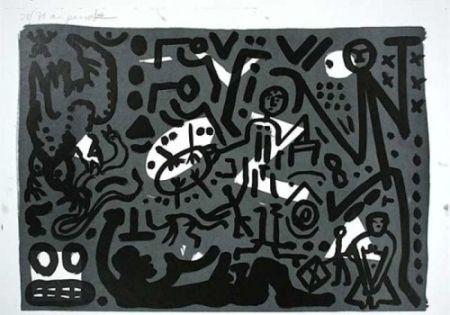 Litografía Penck - Lausanne 4 Hände auf den Tisch