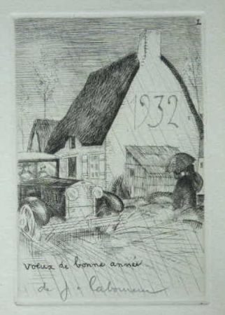 Aguafuerte Laboureur - L'Auto sous la pluie