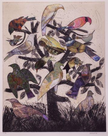 Litografía Valdés - Le arbre aux oiseaux