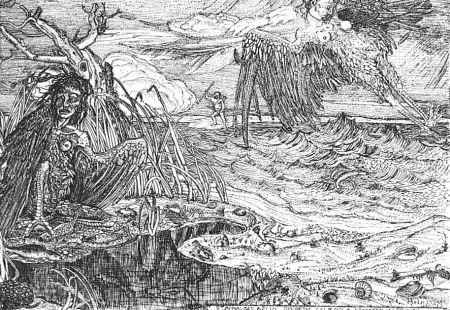 Aguafuerte Bozzetti - Le Arpie del lago Stinfalio