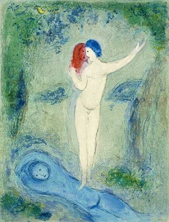 Litografía Chagall - Le baiser de Chloé