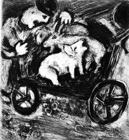 Aguafuerte Chagall - Le Berger et son Troupeau