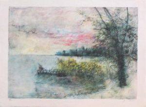 Litografía Gantner - Le bord du lac