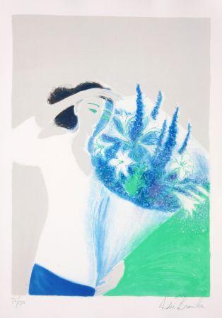 Litografía Brasilier - Le Bouquet Bleu