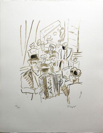 Litografía Leger - LE CAFÉ ou L'ACCORDÉONISTE (La Ville, Paris 1959)