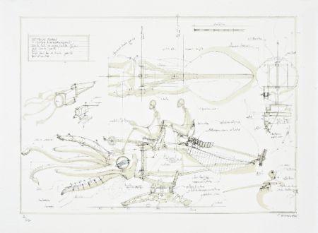 Litografía Delarozière - Le calamar a retropropulsion