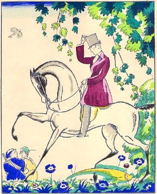 Pochoir Bonfils - Le cavalier
