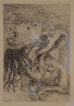 Grabado Renoir - Le Chapeau Épinglé. La Fille de Berthe Morisot et sa Cousine.