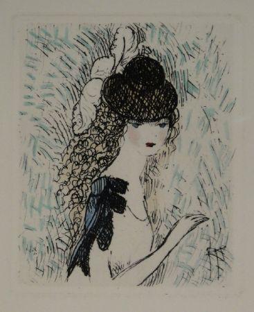 Aguafuerte Y Aguatinta Laurencin - Le chapeau sur les yeux