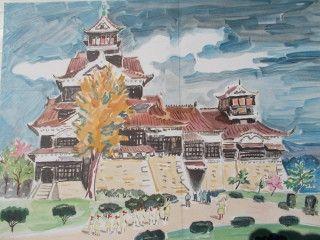 Litografía Brayer - Le chateau de Kumamoto