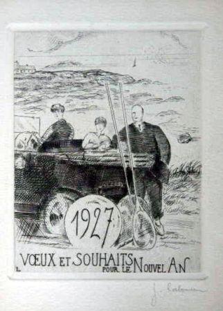 Aguafuerte Laboureur - Le chemin cotier
