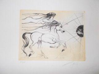Litografía Guiny - Le cheval et la femme