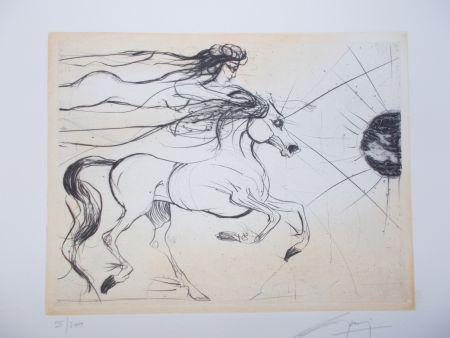 Grabado Guiny - Le cheval et la femme