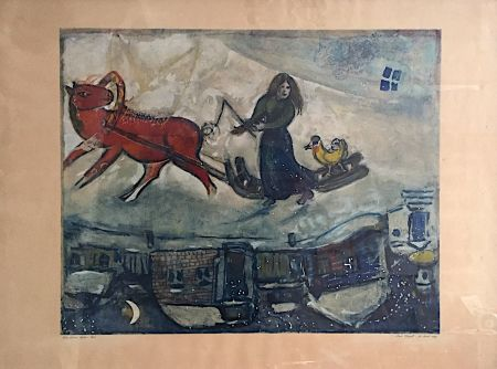 Litografía Chagall - Le cheval rouge