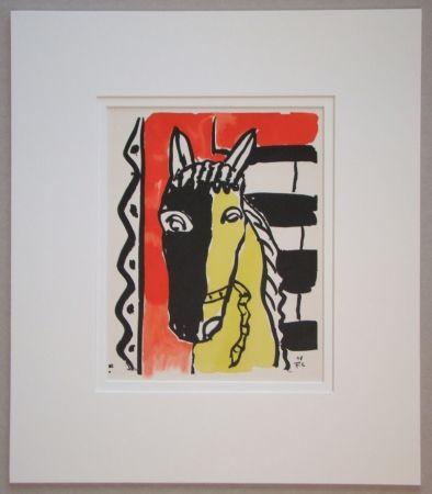 Pochoir Leger - Le cheval sur fond rouge - 1948