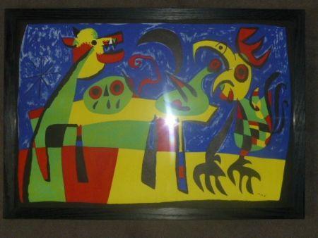 Litografía Miró - Le chien aboyant à la lune