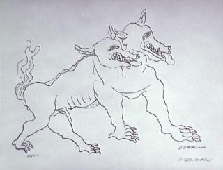 Litografía Zadkine - Le chien de Gerion (b)