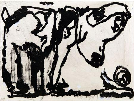 Aguatinta Pincemin - Le chien et l'escargot. Épreuve rehaussée à la gouache (1990)