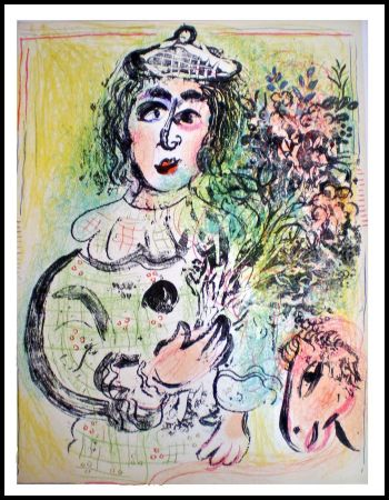 Litografía Chagall - LE CLOWN FLEURI