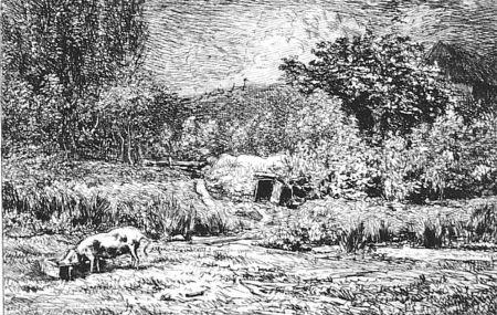 Aguafuerte Daubigny - Le cochon dans un verger