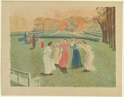 Litografía Lunois - Le colin-maillard (Blind Man's Bluff)