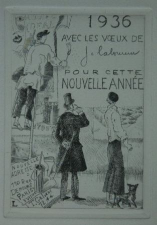 Aguafuerte Laboureur - Le Colleur d'affiches