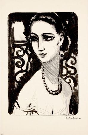 Litografía Van Dongen - Le Collier de Perles