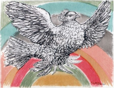 Litografía Picasso - Le Colomb Volant  - The Flying Dove With A Rainbow