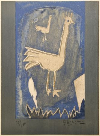 Litografía Braque - Le Coq (frontispice pour Verve n° 27/28 1953)