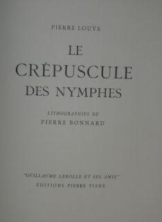 Libro Ilustrado Bonnard - LE CREPUSCULE DES NYMPHES