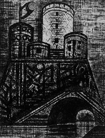 Aguafuerte Gromaire - Le donjon de Dunsinane