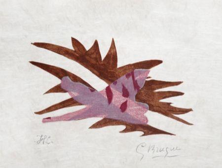 Litografía Braque - Le Feuille Morte From Lettera Amorosa, 1963