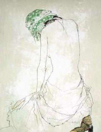 Litografía Jansem - Le Foulard Vert