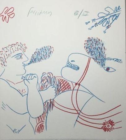 Litografía Fassianos - Le fumeur de cigarettes et le cheval