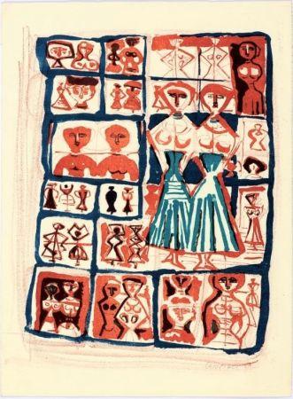 Litografía Campigli - Le gemelle